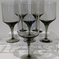 "**ITEM NOW SOLD** Vintage Orrefors 'Rhapsody Smoke' water goblets. 7 3/8"" tall. C. 1960's-1970's. Some never used. Set/7: 105.- Set/6: 90.-"
