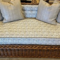 "**ITEM NOW SOLD** The Wicker Works 'Square back sofa' in 'C' style (101-C). Premium tobacco finish. Showroom sample, never used in a home. 68.5""w x 31""d x 32""h. Current List: $7,500. Modele's Price: 750.-"