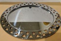 "**ITEM NOW SOLD** Alessi oval tray with cut-out edge deisgn. 23""l x 18""w. Orig. List: $168. Modele's Price: 85.-"