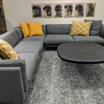 "**ITEM NOW SOLD** DWR (Design Within Reach) 'Como' Corner Sectional. 3 years old. ""Pebble Weave"" fabric in grey. 10'5"" x 10'5"" x 27""h. Current List: $14,249. Modele's Price: 6950.-"
