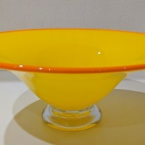 "**ITEM NOW SOLD** Hoglund blown glass footed bowl, purchased in Australia. 9"" dia. x 3.75""h. 95.-"