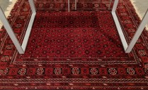 "Afghan rug, just cleaned by D.A. Burns. Age unknown. 5'2"" x 6'3""l. 495.-"