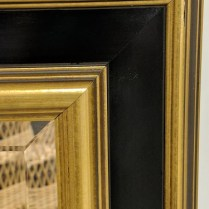 """**ITEM NOW SOLD** Framed mirror from Miller Pollard. Wired for both horizontal or vertical hanging. 29.5"""" x 35.5"""" 95.-"""