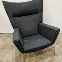 "**ITEMS NOW SOLD** Carl Hansen CH445 Wing chair, designed by Hans Wegner in 1960. Less than 10 years old, in like-new condition. Felted Danish wool upholstery. 35""w x 36""d x 41""h. Current List: $6,935. each. Modele's Price: 2500. each (two available)."