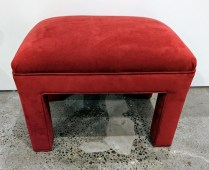 """**ITEM NOW SOLD** Custom bench/ottoman. Upholstered in durable, easy-to-clean microfiber. 25""""w x 17.5""""d x 18.5""""h. 150.-"""