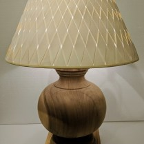 "**ITEM NOW SOLD** Ethan Allen 'Everett' lamp in Acacia wood. 10 yrs. old, new woven shade. 20"" dia. x 29""h. Orig. List for base: $499.- Modele's Price: 150.-"