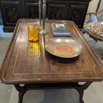 """**ITEM NOW SOLD** MK Furnishings cocktail table. Approx. 10 years old. Hand-scraped planks. 54.5"""" x 38.25"""" x 22.5""""h. Current List: over $3,000. Modele's Price: 1395.-"""