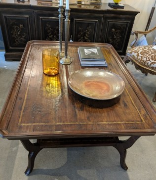 """MK Furnishings cocktail table. Approx. 10 years old. Hand-scraped planks. 54.5"""" x 38.25"""" x 22.5""""h. Current List: over $3,000. Modele's Price: 1395.-"""