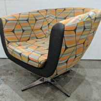 "**ITEM NOW SOLD** 'Marlena' swivel chair by local hospitality company. Rep's sample, never used in a home. 31.5""w x 31""d x 29""h. Orig. $650. Modele's Price: 275.-"