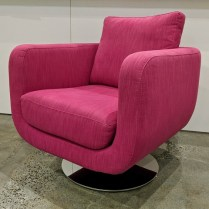 "**ITEM NOW SOLD** Pair Della Robbia 'Orion' swivel chairs, 5 years old. Purchased from Seattle Design Center. 31""w x 36""d x 27.5""h. Orig. List: $3600. pair Modele's Price: 1795.- pair"