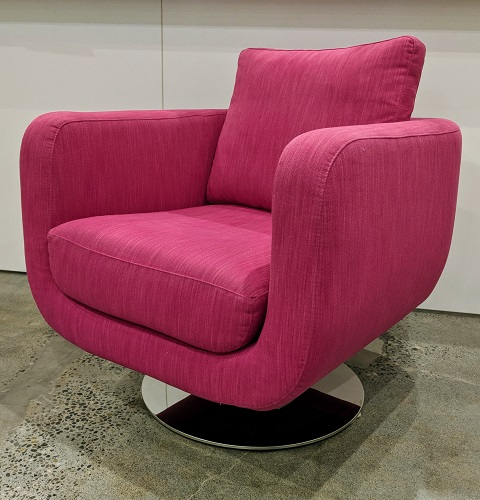 """Pair Della Robbia 'Orion' swivel chairs, 5 years old. Purchased from Seattle Design Center. 31""""w x 36""""d x 27.5""""h. Orig. List: $3600. pair Modele's Price: 1795.- pair"""