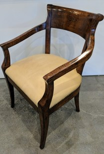 "**ITEM NOW SOLD** Alder & Co. single dining armchair with leather seat. 23.5""w x 23""d x 34""h. Orig. List: $1,230. Modele's Price: 550.-"