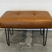 "**ITEM NOW SOLD** Custom bench with Spinneybeck leather and heavy duty steel hairpin legs. 31""w x 17.5""d x 21.5""h. 395.-"