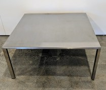 "European stainless steel coffee table, maker not known. Shows wear. 29.5""sq. x 14""h. 195.-"