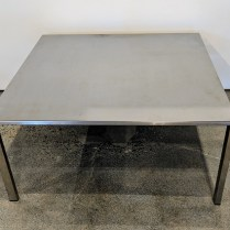 "**ITEM NOW SOLD** European stainless steel coffee table, maker not known. Shows wear. 29.5""sq. x 14""h. 95.-"