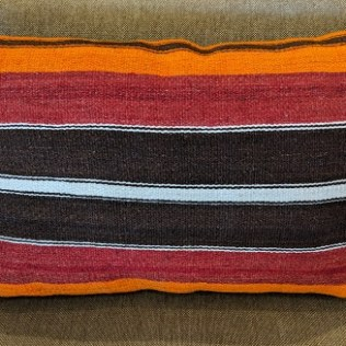 "Kilim pillow, from Turkey. 27""w x 18""h 75.-"