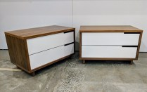"""**ITEM NOW SOLD** Pair Blu Dot 'Modu-licious #1"""" nightstands with walnut veneer and poweder coated steel drawer fronts. Purchased in 2015. 31.5""""w x 18.25""""d x 19.25""""h. Current List: $799. each, plus freight. Modele's Price: 795.- pair"""