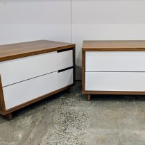 "**ITEM NOW SOLD** Pair Blu Dot 'Modu-licious #1"" nightstands with walnut veneer and poweder coated steel drawer fronts. Purchased in 2015. 31.5""w x 18.25""d x 19.25""h. Current List: $799. each, plus freight. Modele's Price: 795.- pair"
