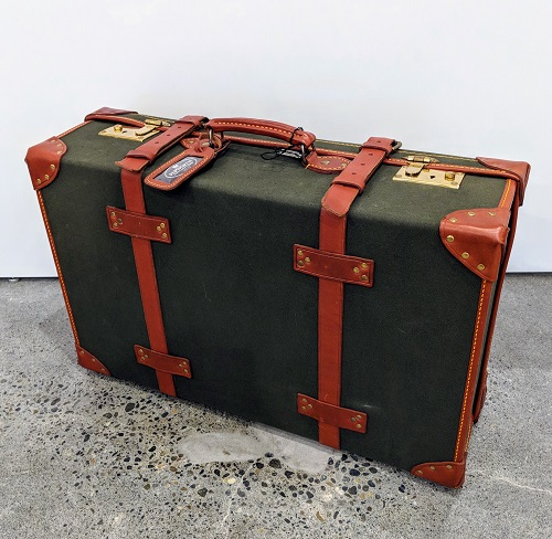 """Papworth 26"""" trunk suitcase, never used. Purchased in England in the 1980's. 26""""w x 8""""d x 17""""h. Orig. List: $2000.-3000. Modele's Price: 750.-"""