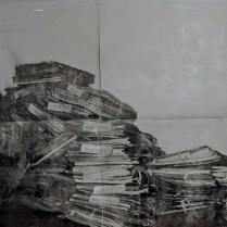 """'Abandonded Venetian Islands' by Alessandra D'Agnolo of Venice, Italy. Paint over photography on aluminum lithography plates, mounted on board. 49""""w x 40""""h. 2000.-"""