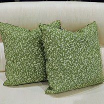 "Pair custom throw pillows: Jasper fabric; 'Indian Flower'. Never used. 19"" sq. Orig. List: $500.- pair Modele's Price: 190. pair"