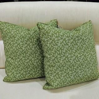 "Pair custom throw pillows: Jasper fabric; 'Indian Flower'. Never used. 19"" sq. Orig. List: $500.- pair Modele's Price: 190. pair"