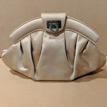 **ITEM NOW SOLD** Salvatore Ferragamo satin evening clutch with silver-tone chain. Perhaps used once. 250.-