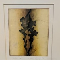"""'Halcyon #21' Encaustic painting on rag paper. Matted and framed. Purchased from the Forster White Gallery. 28""""w x 31.5"""" h. Orig. List: $1,600. plus framing. Modele's Price: 650.-"""