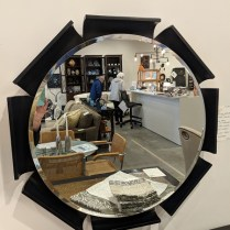 "**ITEM NOW SOLD** Round mirror with petal frame, from Lucca in Los Angeles. 29"" dia. Orig. List: $1250. Modele's Price: 495.-"