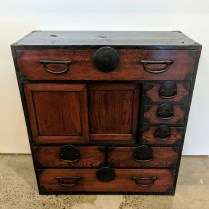 "**ITEM NOW SOLD** Antique Japanese office tansu. c. late 19th century. 29""w x 13.5""d x 31""h. Original list: $1,200. Modele's Price: 750.-"