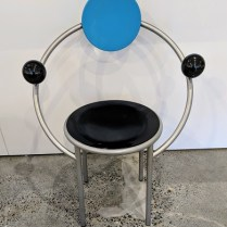 "Memphis Milano 'First Chair' designed by Michele De Lucchi in 1983. Purchased from Current in the 1980's. 26""w x 18.25""d x 36""h. Comparable online prices start at $1,540. Modele's Price: 395.-"