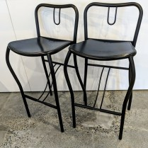 """**ITEM NOW SOLD** Pair Artelano counter stools, purchased at Current in the 1980's. 16.25""""w x 15.5""""d x 32.5""""h. Seat height: 25.25"""" 195.- pair"""