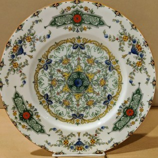 """Set/10 Royal Worcester 'Canopic' dinner plates. Green, with red flowers. Discontinued pattern but available through Replacements Ltd. for $159.95 each dinner plate, or $1,599.50 set/10. 10.5"""" dia. Modele's Price: 475.-set/10"""