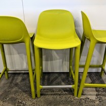 **ITEM NOW SOLD** Set/3 Emeco 'Broom' counter stools, only one year old. Current List: $340. each Modele's Price: 595. set/3