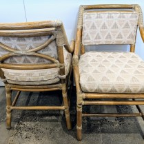 "**ITEM NOW SOLD** Set/4 McGuire dining armchairs. Approx. 25 years old. Discontinued style. 22.75""w 26""d x 33.75""h. 1195.- set/4"