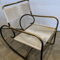 """Vintage Walter Lamb rocker for Brown Jordan. Purchased in 1985. All original, never used outside. 22""""w x 33""""d x 31.5""""h. No longer in production in the original materials. Online pricing ranges from $5,000.-6,500. Modele's Price: 3500.-"""