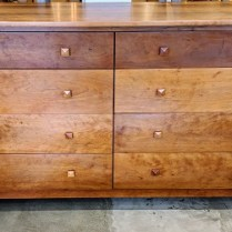 "**ITEM NOW SOLD** McKinnon 8-drawer cherry double dresser with cedar-lined drawers. 70""w x 22.5""d x 38""h. Orig. List: $5,000. Modele's Price: 2395."