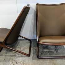 """**ITEM NOW SOLD** Pair Geiger International 'Scissor' chairs, designed by Ward Bennett. 8 years old, leather/wood. 24""""w x 28""""d x 34.75""""h. Current List: $6.800. pr. Modele's Price: 2950.- pair"""