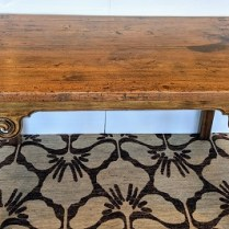 """Antique Chinese altar table, wider than typical, with beautiful scroll details. 68.75"""" l x 31.25"""" w x 32.5""""h. 1350.-"""