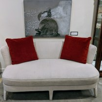 """B&B Italia 'Rebo' small sofa. 5 years old, Includes 2 red pillows and 2 matching pillows. 70.75""""w x 37.5""""d x 31""""h. Orig. List: over $5,000. Modele's Price: 950.-"""