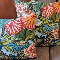 """**ITEMS NOW SOLD** Custom pillows with Schumacher Chiang Mai Dragon (Aqua) fabric on one side. 16"""" square: 95. 20"""" square: 135. (sold)"""
