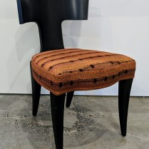 "**ITEM NOW SOLD** Donghia Klismos dining chair, approx. 7 years old, Bergamo fabric. 20""w x 23""d x 32.25""h. 295.-"