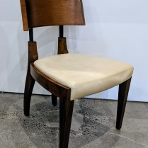 """**ITEM NOW SOLD** Gulassa dining side chair, model S-309 in walnut/steel/leather. 22""""w x 22""""d x 35""""h. Current List: Approx. $3,000. Modele's Price: 750.-"""