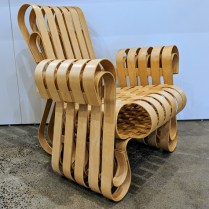 """Knoll Frank Gehry 'Power Play' lounge chair, signed and stamped 1995. 32.25""""w x 30""""d x 32.5""""h Current List: $9,158. Modele's Price: 5500.-"""