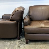 "**ITEM NOW SOLD** Pair Hancock & Moore leather club chairs. Purchased at Masins in 2000, very light use. 35""w x 35""d x 31.75""h 2950.- pair"