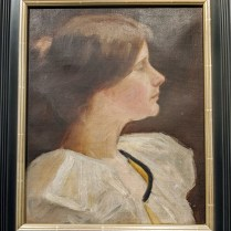 "Framed portrait, oil on canvas, mounted on board. Age/origin not known. 17.75""w x 20.75""h. 225.-"