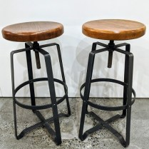 """Pair West Elm stools, adjustable seat height, industrial style with wood seat on steel base, 8 yrs. old. 17"""" sq. at base. Seat height adjusts from 26.25"""" to 32.25"""". Current list: $398.40 plus freight, per pair. Modele's Price: 225.- pair"""