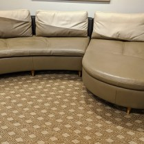 "**ITEM NOW SOLD** Roche Bobois 2-pc. leather sectional. Purchased in 2009. Customized legs. 131.5""l x 69""d. Orig. List: $12,000. Modele's Price: 1850.-"