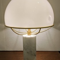 "**ITEM NOW SOLD** Tato Italia 'Jil' table lamp. Murano glass shade, Carrera marble base with satin brass structure. 13.75"" dia. x 20.5""h. Current List: $2,209.- Modele's Price: 695.-"