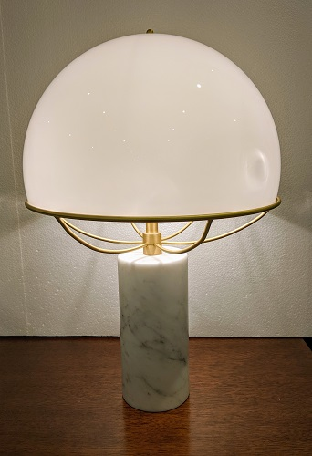 """Tato Italia 'Jil' table lamp. Murano glass shade, Carrera marble base with satin brass structure. 13.75"""" dia. x 20.5""""h. Current List: $2,209.- Modele's Price: 695.-"""